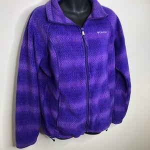 Columbia purple printed zip up fleece cozy lge
